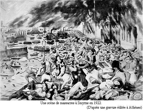 Une scène de massacres à Smyrne en 1922